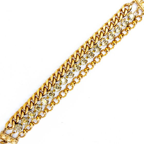 Catherine Popesco Gold Multi Chain Crystal Bracelet