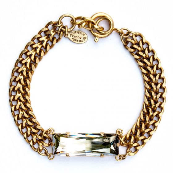 Catherine Popesco Zigzag Chain Rectangle Crystal Bracelet
