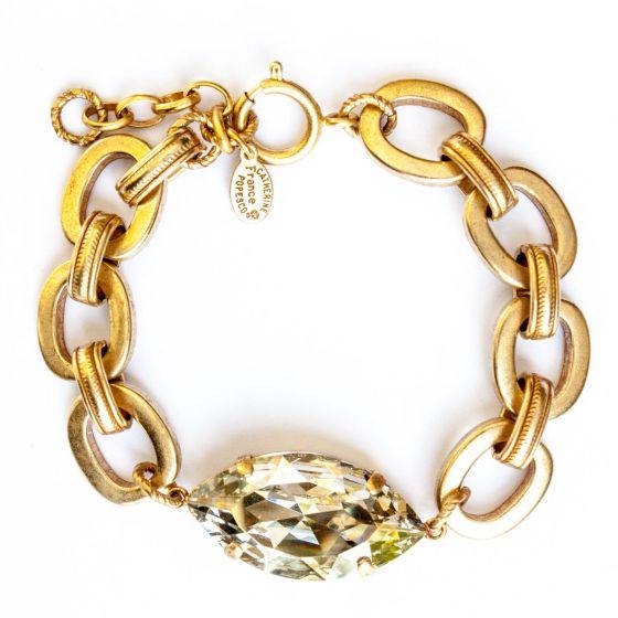 Catherine Popesco Large Marquise Crystal Stone Gold Bracelet