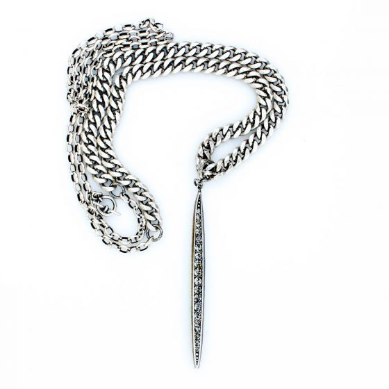 Catherine Popesco Double Chain Necklace with Crystal Spear