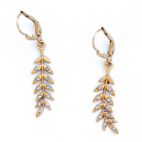 Catherine Popesco Gold Aniara Crystal Leaf Earrings