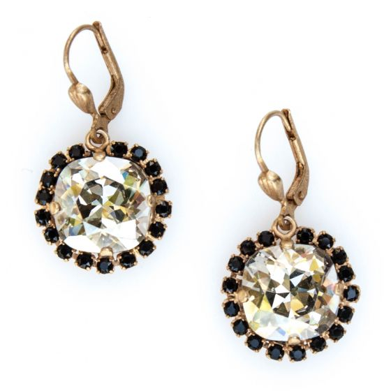 Catherine Popesco Earrings Large Stone With Crystals - Shade & Jet and Gold