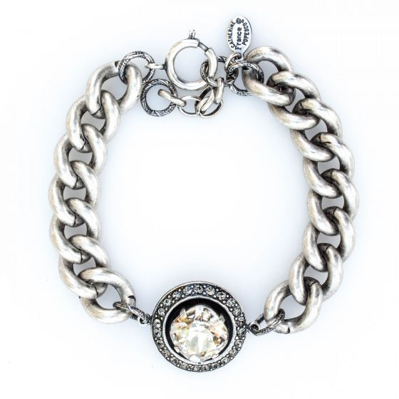 Catherine Popesco Shade Round Crystal Frame Bracelet in Silver