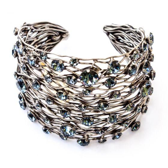 Konplott Silver Blue Denim Cages Wide Cuff Bangle Bracelet