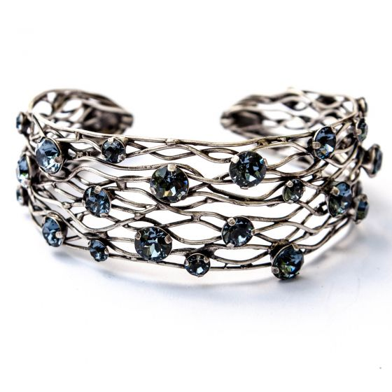 Konplott Silver Blue Denim Cages Narrow Cuff Bangle Bracelet