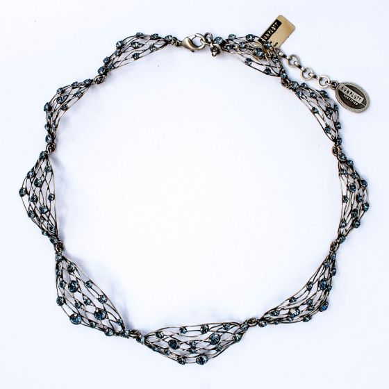 Konplott Jewelry by Miranda Konstantinidou Blue Denim Silver Cages Necklace