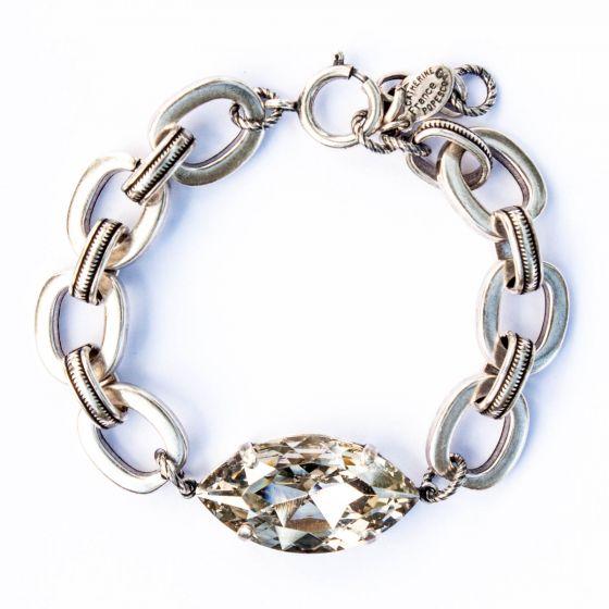 Catherine Popesco Large Marquise Crystal Stone Silver Bracelet