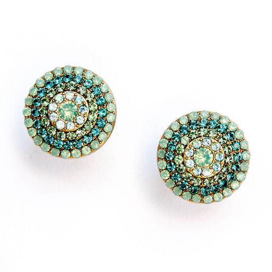 Catherine Popesco Round Pave Crystal Stud/Post Earrings Gold, Pacific Opal, Teal