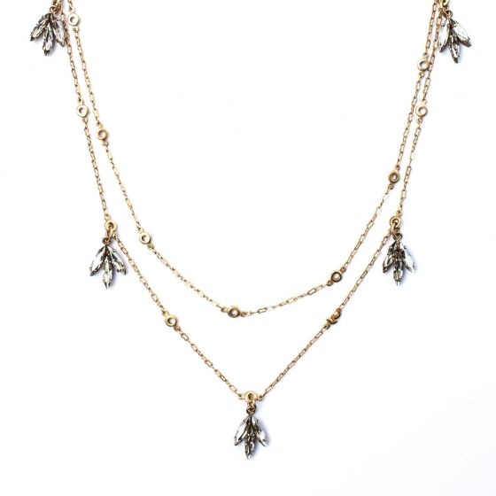 """Catherine Popesco Gold Necklace with Crystal Leaf Clusters 42"""""""