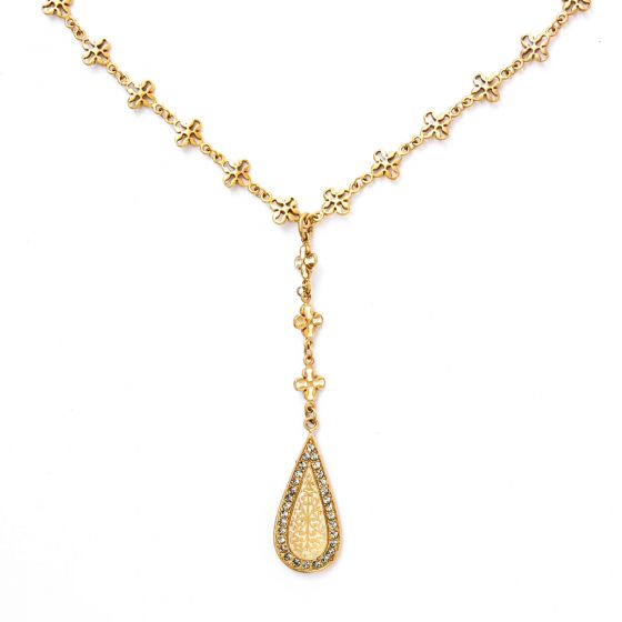 Catherine Popesco Enamel Teardrop Crystal and Gold Necklace