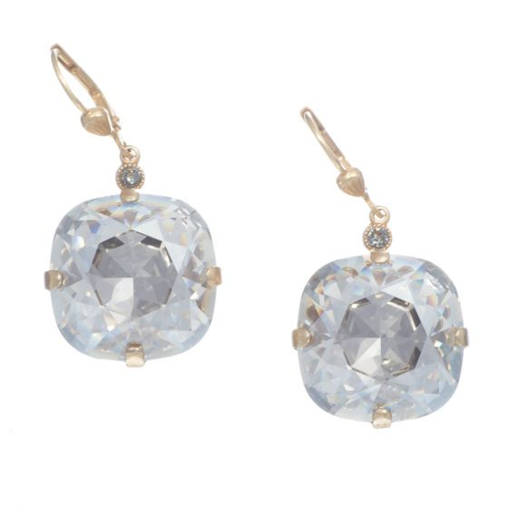 Catherine Popesco 18mm Jumbo Stone Crystal Earrings - Assorted Colors in Gold or Silver