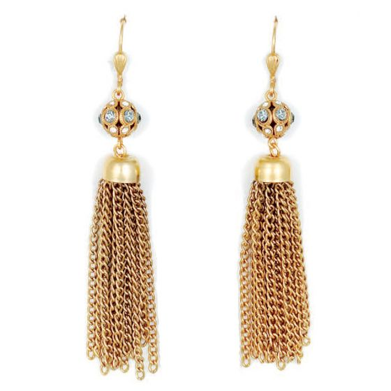 Catherine Popesco Crystal Orb Tassel Earrings - Gold or Silver