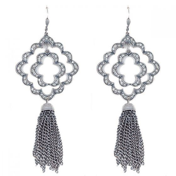 Catherine Popesco Large Open Crystal Tassel Earrings - Gold or Silver