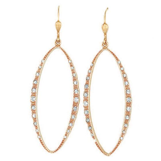 Catherine Popesco Large Open Marquise Crystal Earrings - Gold or Silver