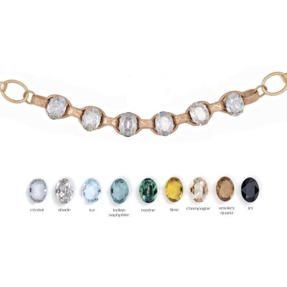 Catherine Popesco Oval Stone Ornate Necklace - Assorted Colors in Silver or Gold