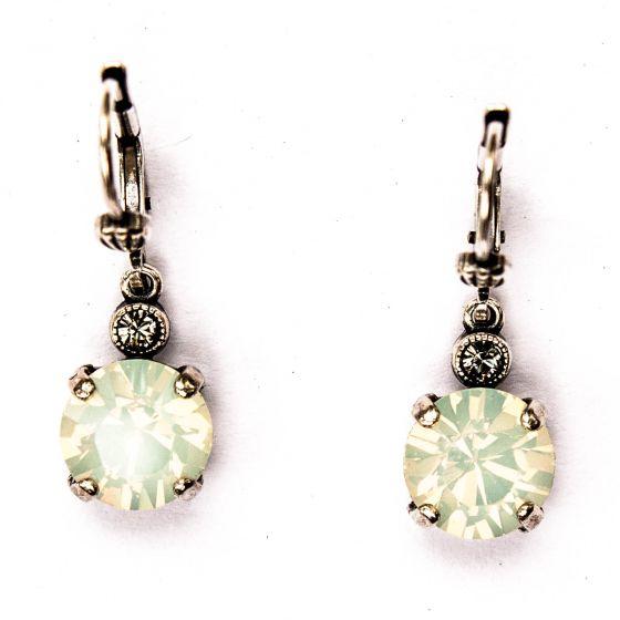 Catherine Popesco White Opal 8mm Round Small Stone Dangle Earrings