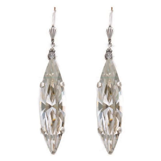 Catherine Popesco Marquise Long Crystal Earrings - Shade and Silver