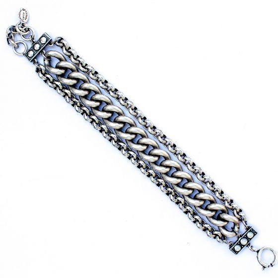 Catherine Popesco Triple Chain Silver Bracelet
