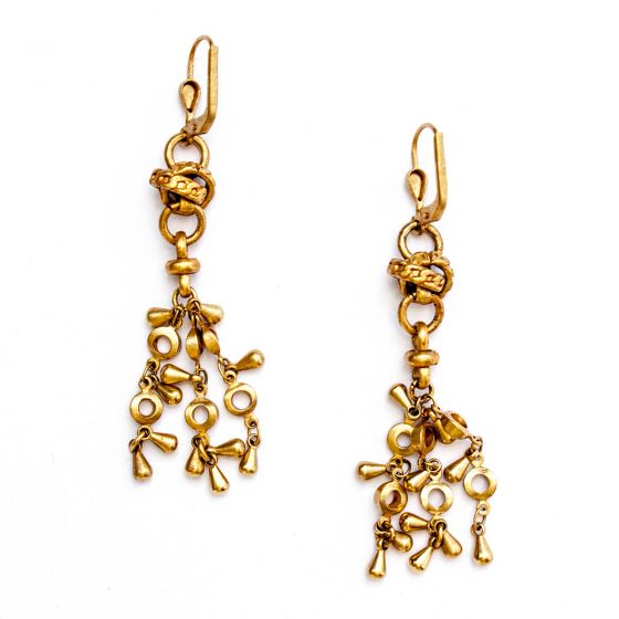 Catherine Popesco Gold Knot Tassel Earrings
