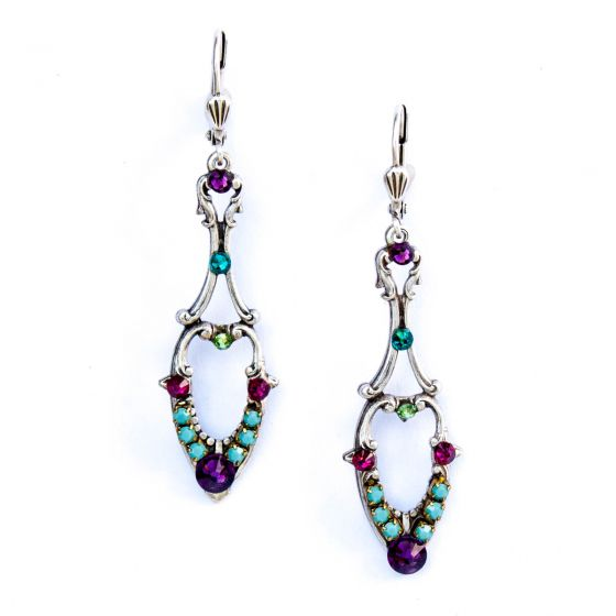 Clara Beau Multi Colored Crystal Silver Pendulum Earrings