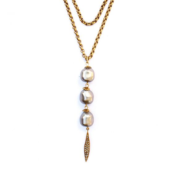 """Catherine Popesco 42"""" Pearl Drop Gold Necklace with Crystal Dagger"""