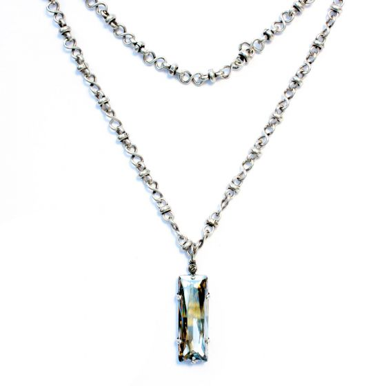 """Catherine Popesco Long Chain Crystal Rectangle Pendant 42"""" Silver Necklace"""