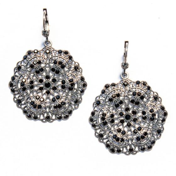 Catherine Popesco Small Lacy Round Jet Black Crystal and Silver Earrings