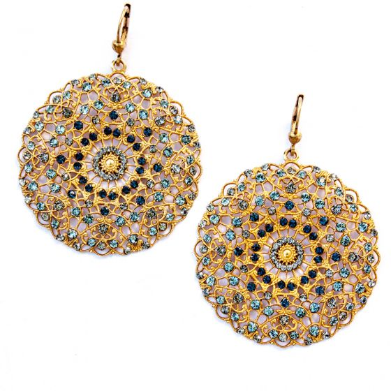 Catherine Popesco Large Lacy Montana Blue Crystal and Gold Round Earrings