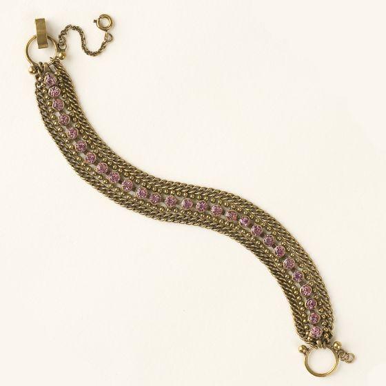Sorrelli Spring Rain Crystal Rhinestone and Chain Multi-Strand Line Bracelet