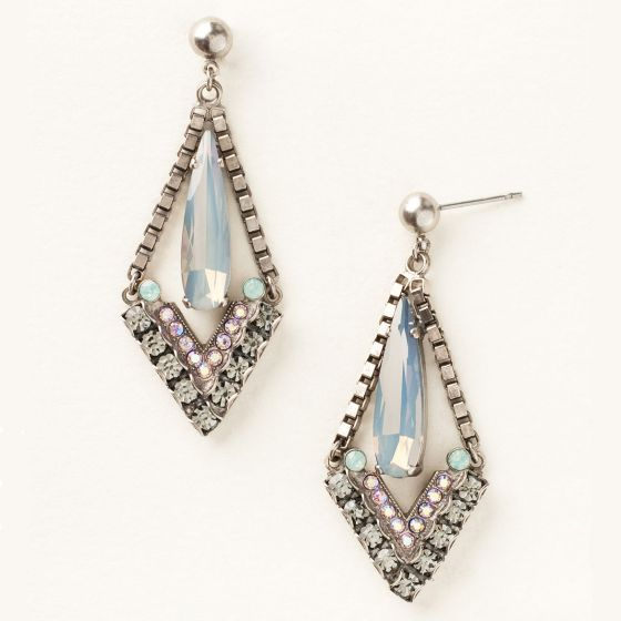 Sorrelli Crystal Triangle and Box Chain Statement Earring - Crystal Moss