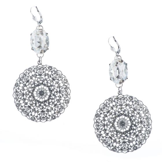 Catherine Popesco Large Round Silver Filigree Earrings with Oval Crystal