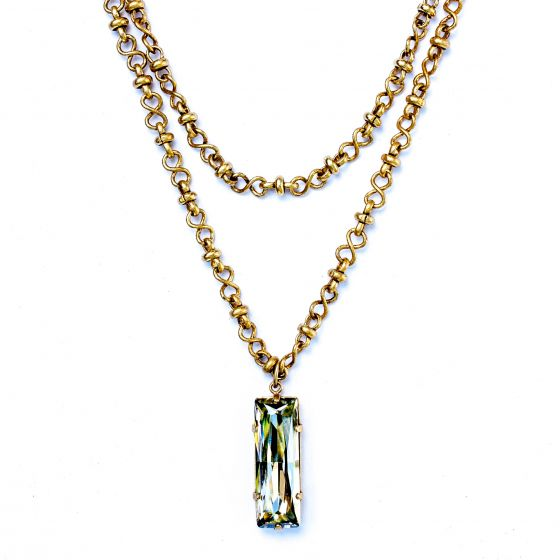 "Catherine Popesco Long Chain Crystal Rectangle Pendant 42"" Gold Necklace"