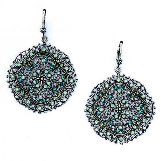 Pacific Opal Crystal and Silver Filigree Earrings - Catherine Popesco