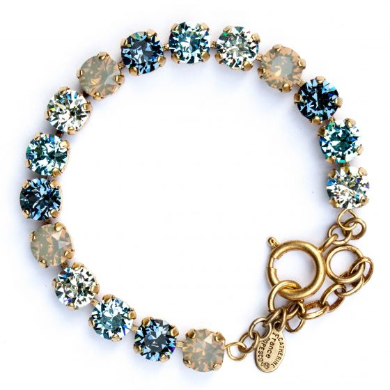 Catherine Popesco Multi Color Crystal Bracelet - Midnight Blue and Aqua in Gold