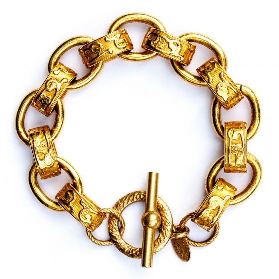 Catherine Popesco Bracelet - Stamped Oval Links in Gold