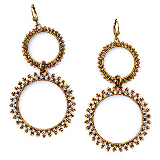 Catherine Popesco Double Circle Earrings - Crystal and Black Diamond