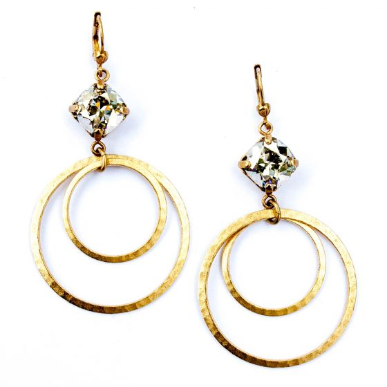 Catherine Popesco Double Hoop Shade Crystal  Earrings in Gold