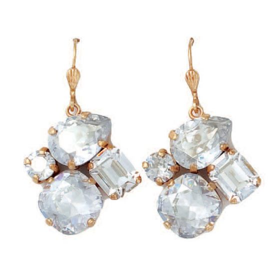 Catherine Popesco Elegant Multi Shape Shade Crystal Earrings