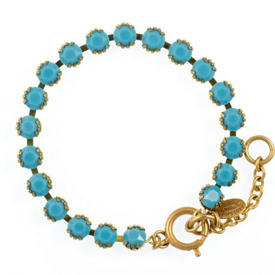 Catherine Popesco Small Stone Crystal Bracelet - Turquoise and Gold
