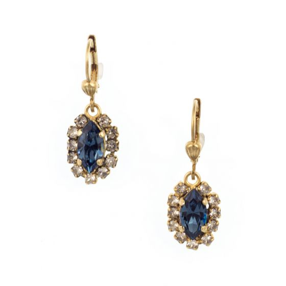 Catherine Popesco Small Gold Oblong Rhinestone Earrings - Assorted Colors