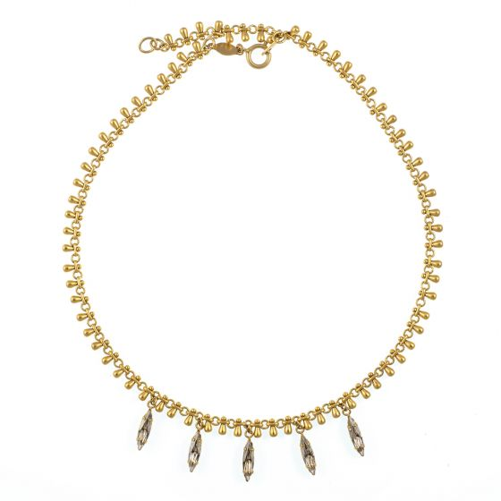 Catherine Popesco Gold Five Marquise Shade Drops Crystal Necklace