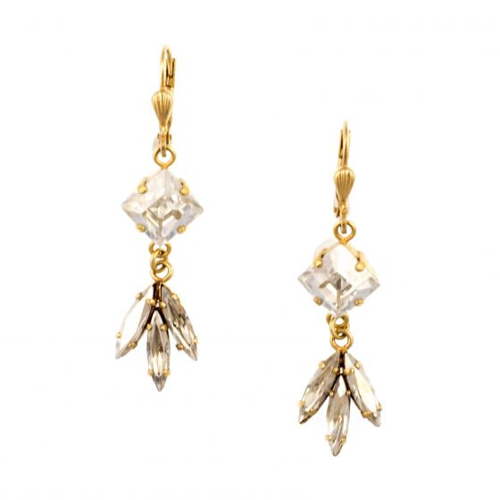 Catherine Popesco Gold Square and Marquise Shade Crystal Earrings