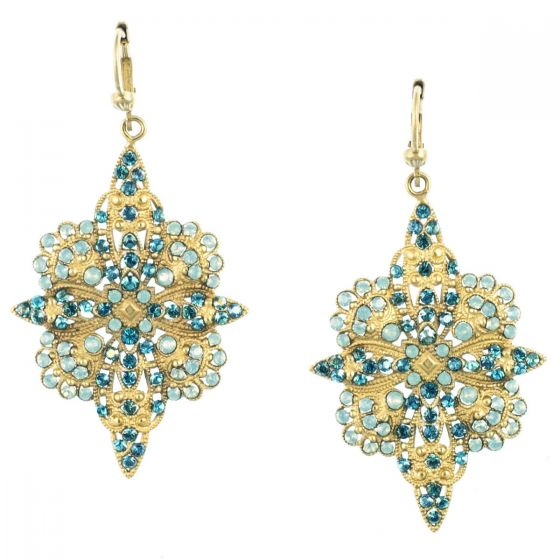 Catherine Popesco Crystal Flowered Earrings Pacific Opal and Teal in Gold
