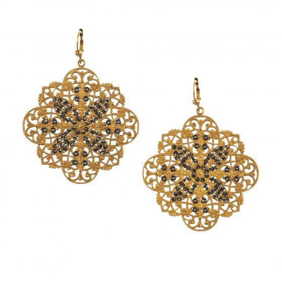 Catherine Popesco Gold Filigree Black Diamond Stone Crystal Earrings