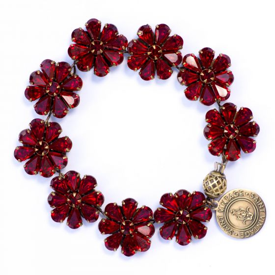 Saint Vintage Holiday Red Crystal Flower Bracelet