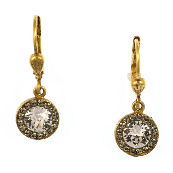 Catherine Popesco Gold Petite Round Rhinestone Dangle Earrings