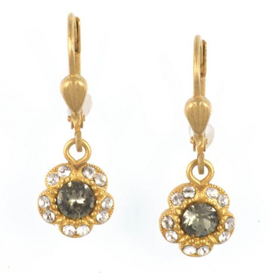 Catherine Popesco Gold Petite Flower Crystal Dangle Earrings