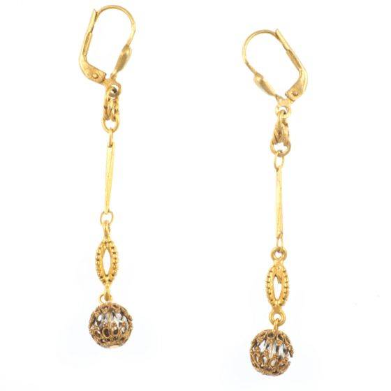 Catherine Popesco Hanging From a Strand Petite Orb Crystal Earrings