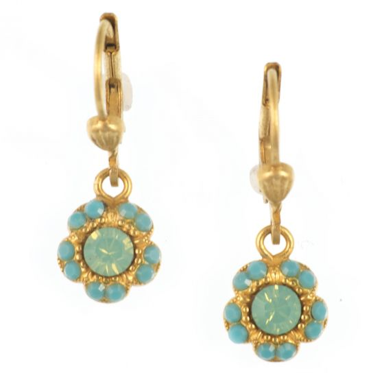 Catherine Popesco Petite Flower Crystal Dangle Earrings - Pacific Opal