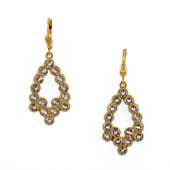 Catherine Popesco Crystal Rhinestone Earrings - Clear Crystal in Gold